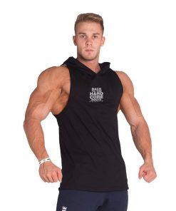 Bodybuilding Tank Top met Hoodie Zwart Nebbia 313 voorkant
