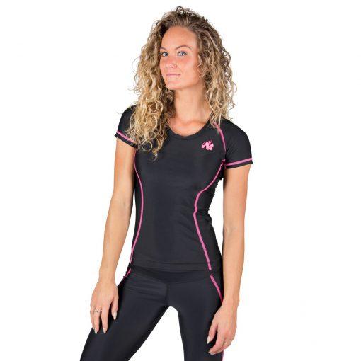 Compressie T-shirt Zwart Roze Carlin - Gorilla Wear-1