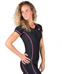 Compressie T-shirt Zwart Roze Carlin - Gorilla Wear-3