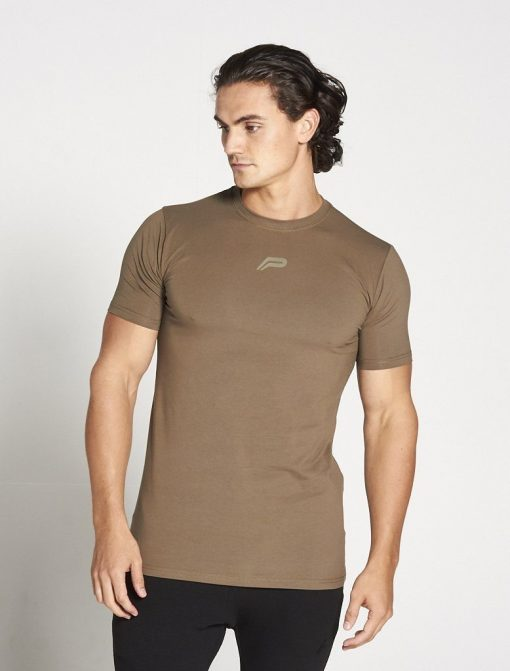 Fitness T-shirt Heren kaki stretch - Pursue Fitness-1