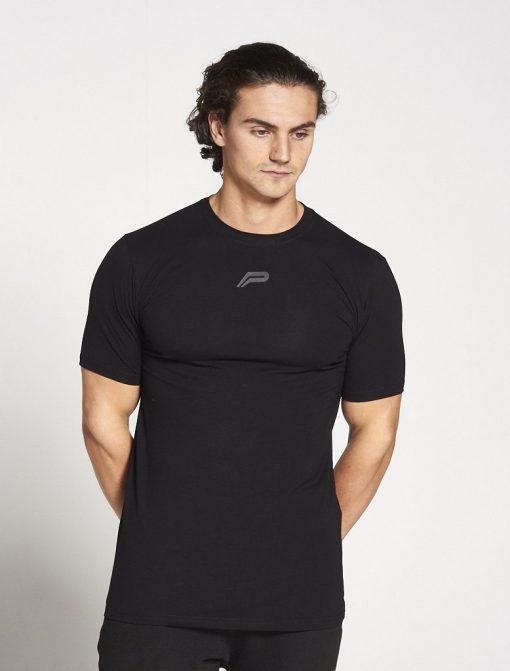 Fitness T-shirt Heren zwart stretch - Pursue Fitness-1