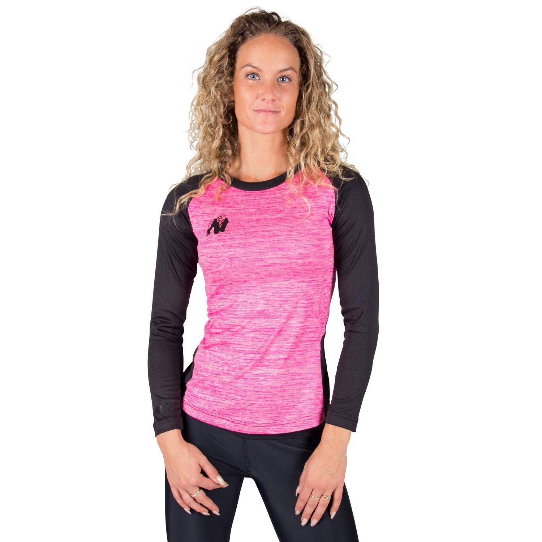Fitness longsleeve Dames Roze - Gorilla Wear Mineola-1