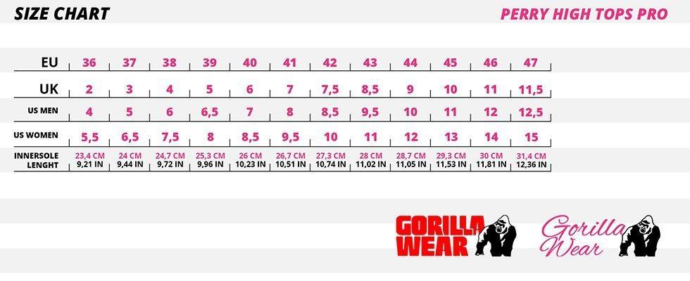Gorilla-Wear-Schoenen-Perry-Maattabel