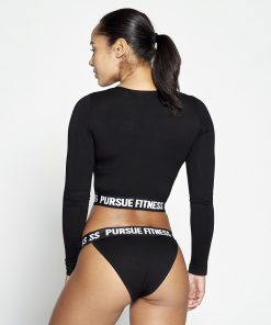 Fitness Crop Top Dames Zwart - Pursue Fitness-2
