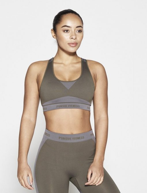 Fitness Top Dames Kaki Seamless - Pursue Fitness-1