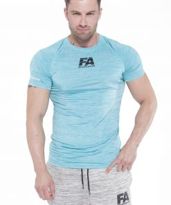 Bodybuilding T-Shirt Compressie Lichtblauw - Fitness Authority-1