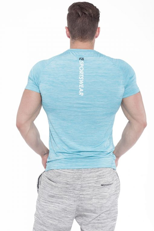 Bodybuilding T-Shirt Compressie Lichtblauw - Fitness Authority-2