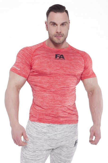 Bodybuilding T-Shirt Compressie Rood - Fitness Authority-1