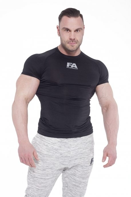 Bodybuilding T-Shirt Compressie Zwart - Fitness Authority-1