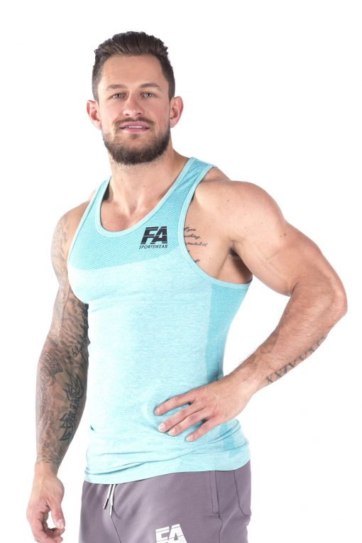 Bodybuilding Tanktop Basic Lichtblauw - Fitness Authority-2