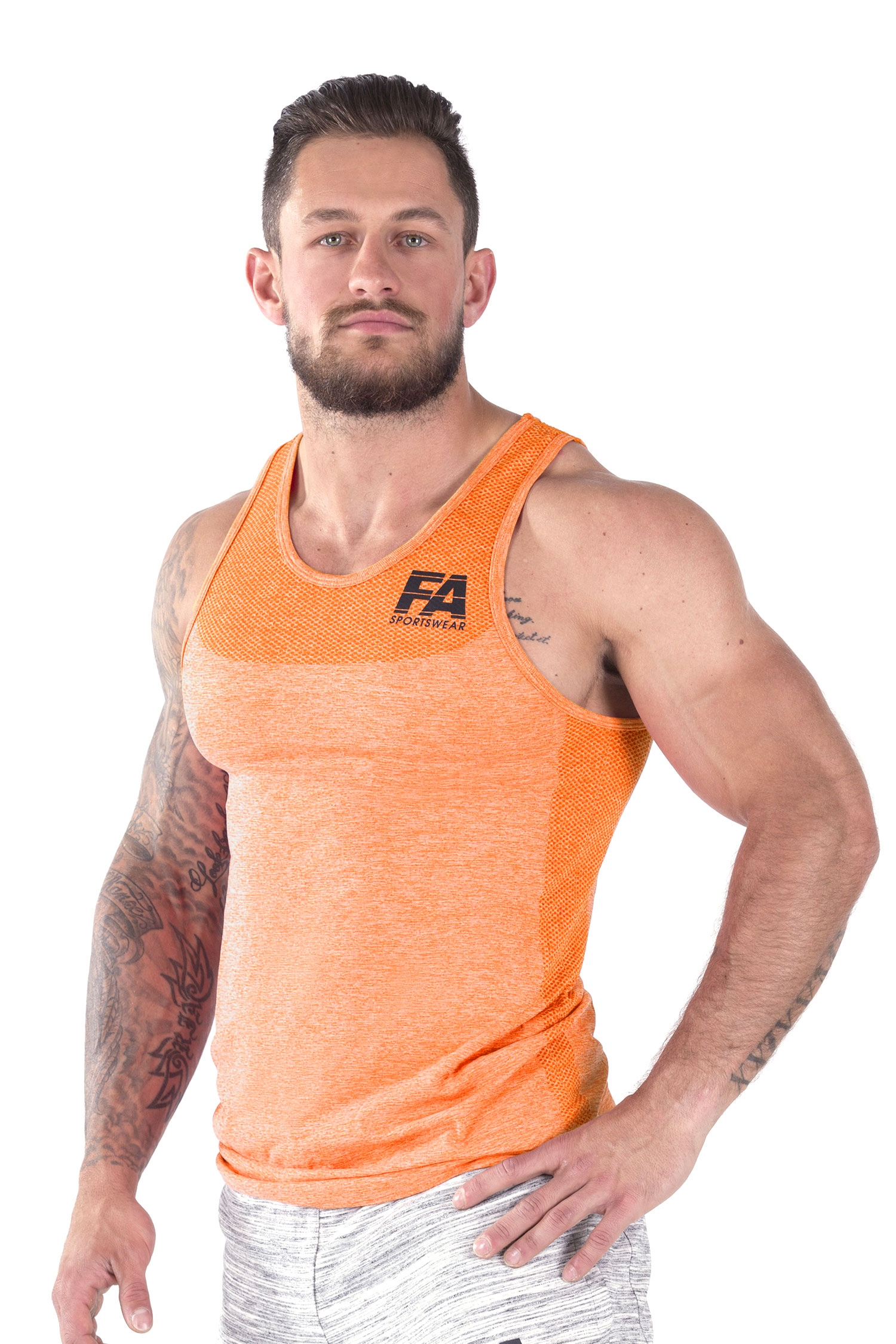Bodybuilding tanktop basic oranje fitness authority for Basic fit inschrijven