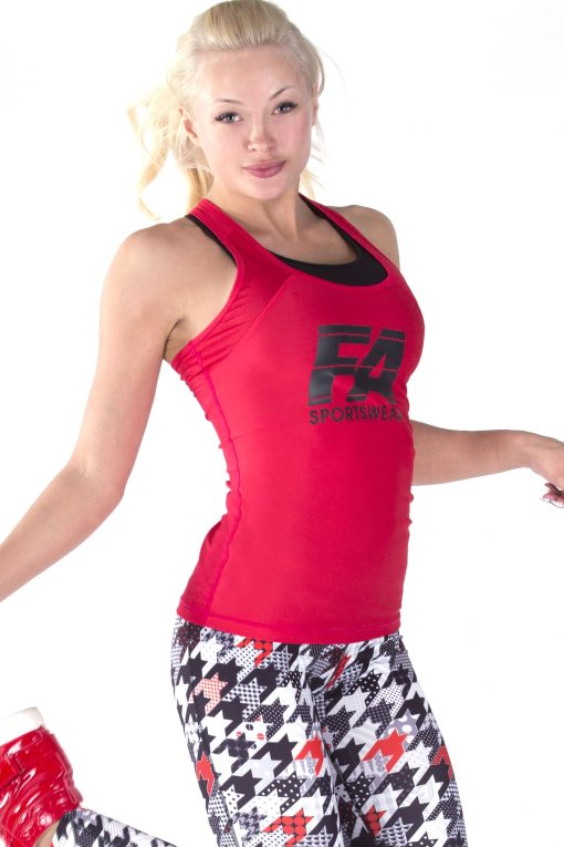 Sport Tanktop Dames Basic Rood - Fitness Authority-3
