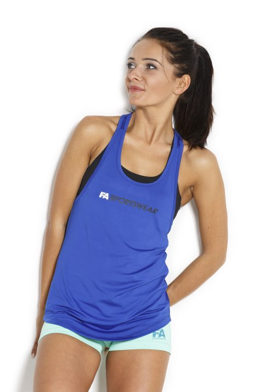 Sport Tanktop Dames Loose Blauw - Fitness Authority-4