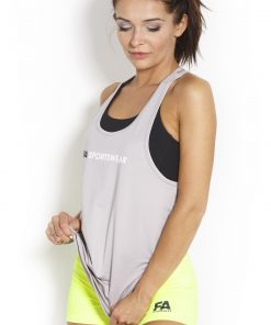 Sport Tanktop Dames Loose Grijs - Fitness Authority-2