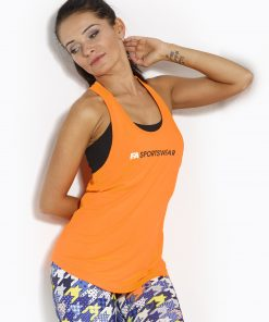 Sport Tanktop Dames Loose Oranje - Fitness Authority-1