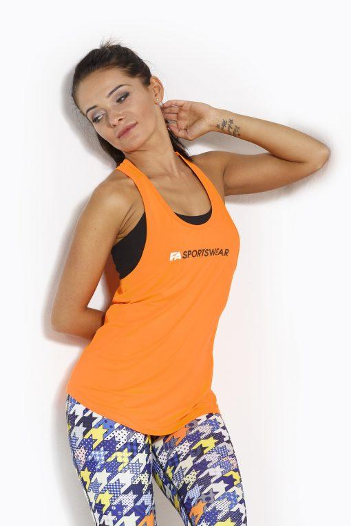 Sport Tanktop Dames Loose Oranje - Fitness Authority-1