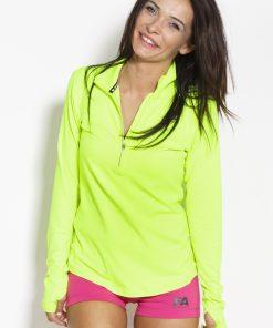 Sportlongsleeve Dames Geel Groen - Fitness Authority-1
