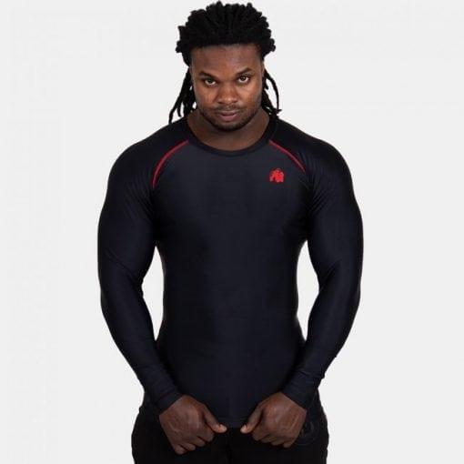 Compressie Longsleeve Zwart Rood - Gorilla Wear Hayden-1