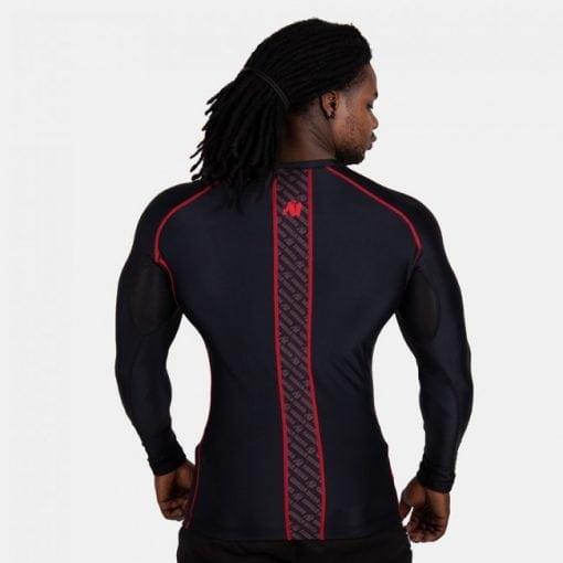 Compressie Longsleeve Zwart Rood - Gorilla Wear Hayden-2
