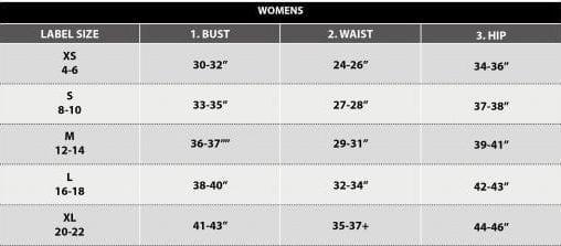 Pursue fitness-vrouw-maattabel
