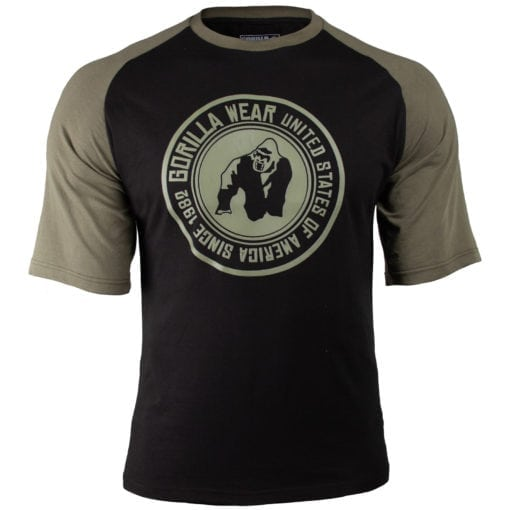 Bodybuilding Shirt Heren Zwart:Groen - Gorilla Wear Texas-1