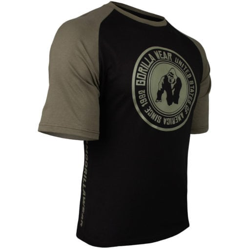 Bodybuilding Shirt Heren Zwart:Groen - Gorilla Wear Texas-3