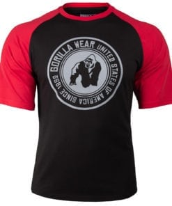 Bodybuilding Shirt Heren Zwart:Rood - Gorilla Wear Texas-1