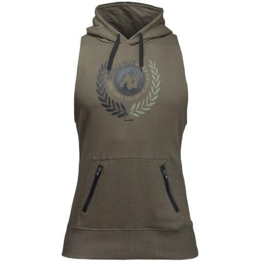 Bodybuilding Sleeveless Hoodie Groen - Gorilla Wear Manti-3