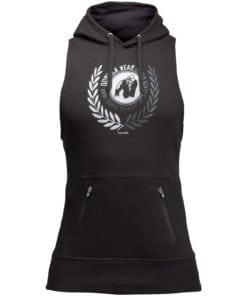 Bodybuilding Sleeveless Hoodie Zwart - Gorilla Wear Manti-1