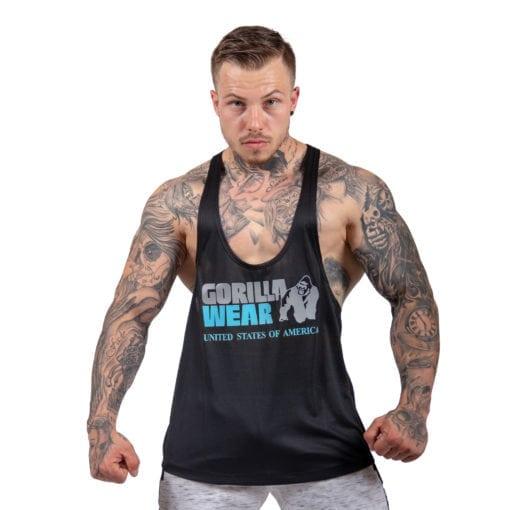 Bodybuilding Tanktop Heren Zwart: Lichtblauw - Gorilla Wear Nashville-1