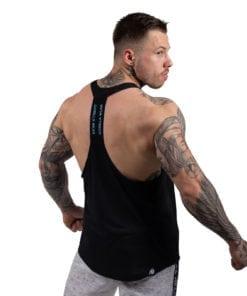 Bodybuilding Tanktop Heren Zwart: Lichtblauw - Gorilla Wear Nashville-2