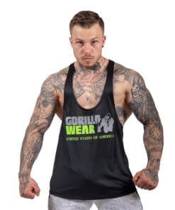 Bodybuilding Tanktop Heren Zwart: Neon Groen - Gorilla Wear Nashville-1