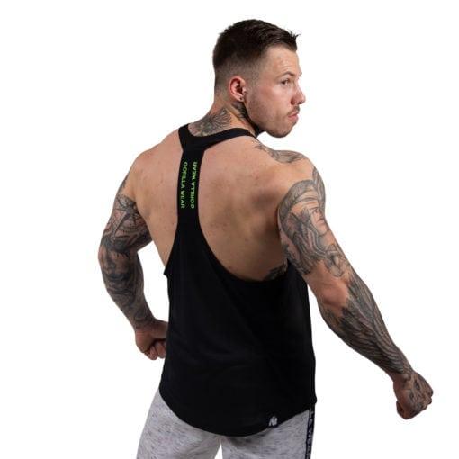 Bodybuilding Tanktop Heren Zwart: Neon Groen - Gorilla Wear Nashville-2