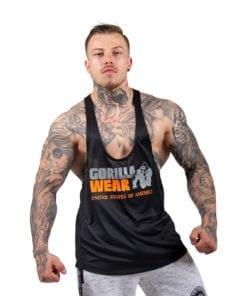Bodybuilding Tanktop Heren Zwart: Neon Oranje - Gorilla Wear Nashville-1