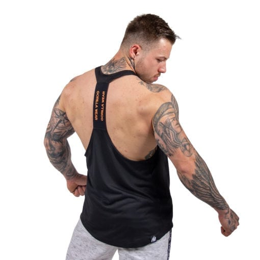 Bodybuilding Tanktop Heren Zwart: Neon Oranje - Gorilla Wear Nashville-2
