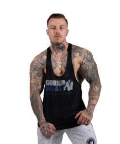 Bodybuilding Tanktop Heren Zwart:Blauw - Gorilla Wear Nashville-2