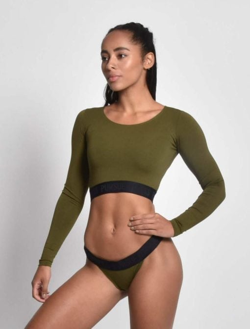 Sport Crop Top Dames Longsleeve Kaki - Pursue Fitness 1