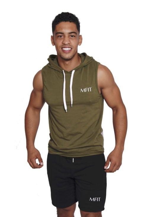 Sport sleeveless hoodie Heren Kaki - Mfit-1