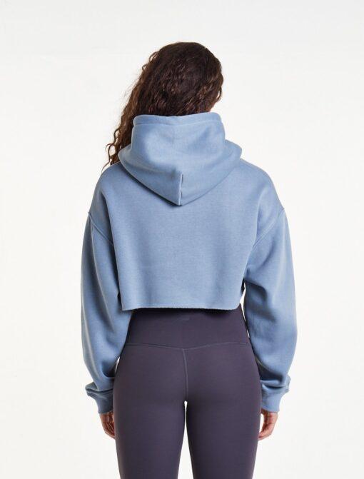 Crop Top Hoodie Dames Blauw Oversized - Pursue Fitnes-2