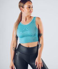 Sport Crop Tanktop Vrouwen Blauw - Workout Emire Rib -1