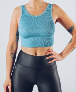 Sport Crop Tanktop Vrouwen Blauw - Workout Emire Rib -3