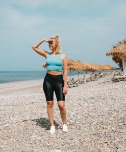 Sport Crop Tanktop Vrouwen Blauw - Workout Emire Rib -5
