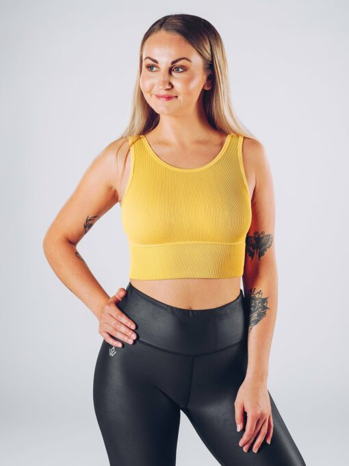 Sport Crop Tanktop Vrouwen Geel - Workout Emire Rib -1