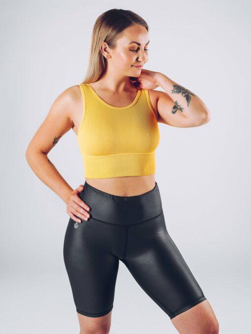 Sport Crop Tanktop Vrouwen Geel - Workout Emire Rib -3