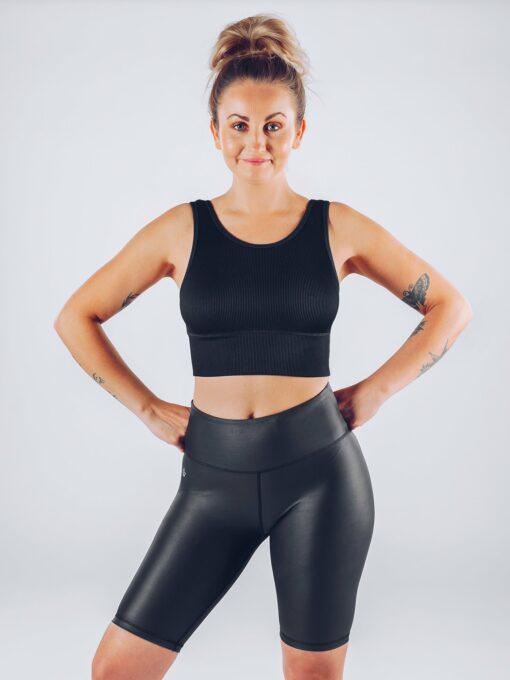 Sport Crop Tanktop Vrouwen Zwart - Workout Emire Rib -2
