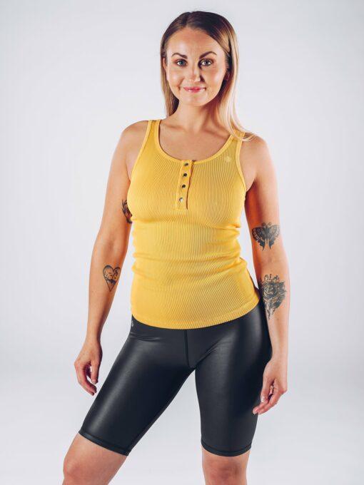 Sport Tanktop Vrouwen Geel - Workout Emire Rib -2