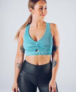 Sport Top Vrouwen Blauw - Workout Emire Rib Knot Bra -3