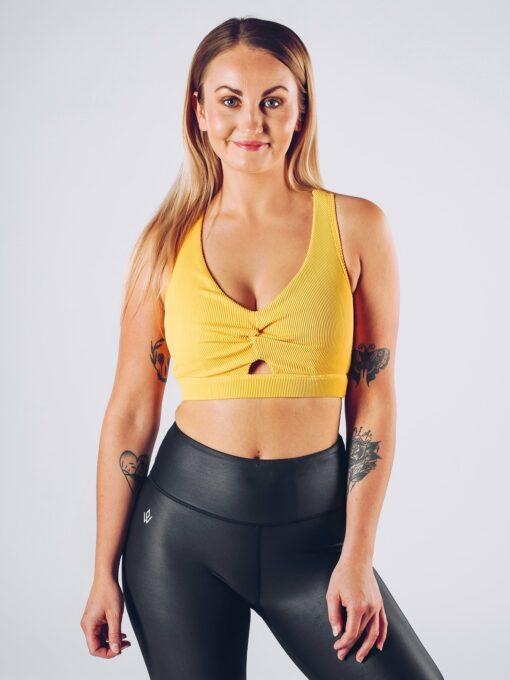 Sport Top Vrouwen Geel - Workout Emire Rib Knot Bra -1