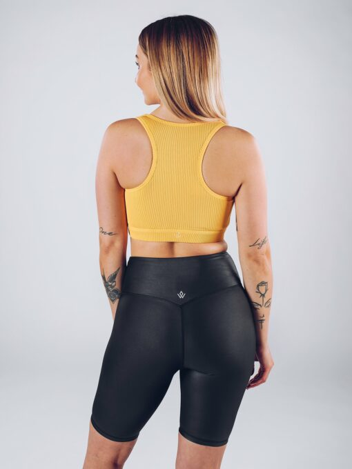 Sport Top Vrouwen Geel - Workout Emire Rib Knot Bra -2