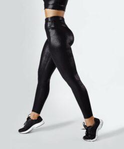 Dames Sportlegging.Sportlegging Dames Glanzend Zwart Workout Empire Shimmer